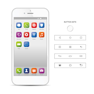 Realistic, modern, smart phone collection with apps on isolated background.