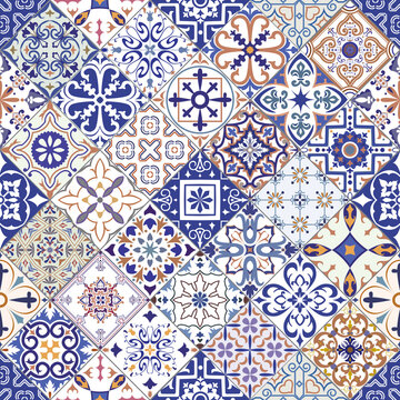 Seamless tiles background in portuguese style. Mosaic pattern for ceramic in dutch, portuguese, spanish, italian style.