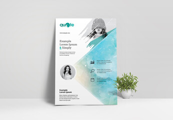 Business Flyer Layout with Watercolor Brush Design