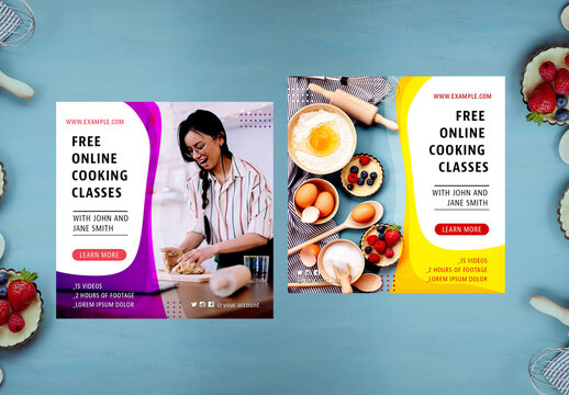 Online Cooking Courses Social Media Layout