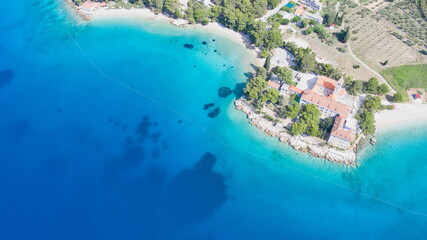 Foto auf Acrylglas Olivgrun Amazing aerial view on a beach and small church of St.Ivan and Teodor Bol,Brac copy space image