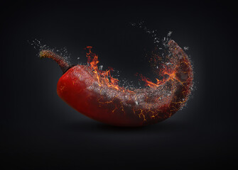 Printed roller blinds Hot chili peppers Red chili pepper on fire