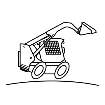 Skid steer loader. Vector scalable drawing.