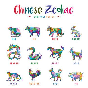 CHINESE ZODIAC ANIMALS LOW POLY