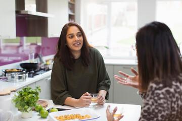 Women talking and drinking tea in kitchen