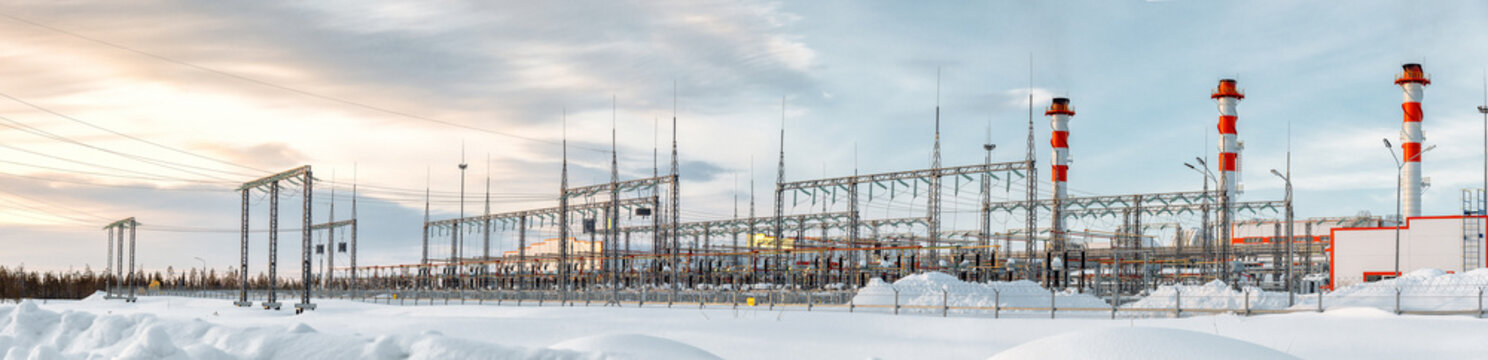 Electricity control station, power plant, energy concept, winter