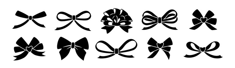 Ribbon bow black glyph set. Valentine day or wedding decorated tape bows. Cartoon silhouette elements for present, celebration and congratulation. Isolated on white background vector illustration