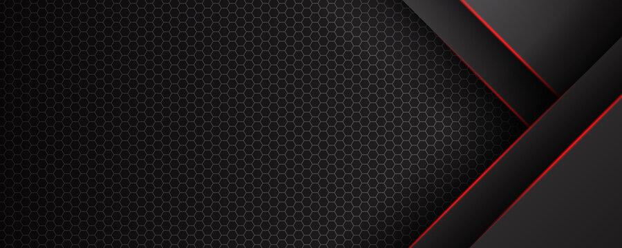 Abstract black red grey metallic carbon neutral overlap red light hexagon mesh design modern luxury futuristic technology background vector illustration.