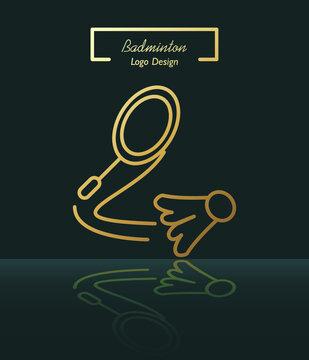Badminton racquet hitting shuttlecock line logo