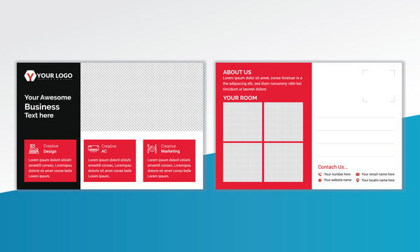 Double-sided hotel Postcard Design in 6x4 size, Hotel Postcard template in vector print ready