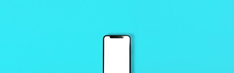 Blank smartphone on light blue background.  Photo.  水色背景の上に置かれたスマホのブランク素材  写真素材