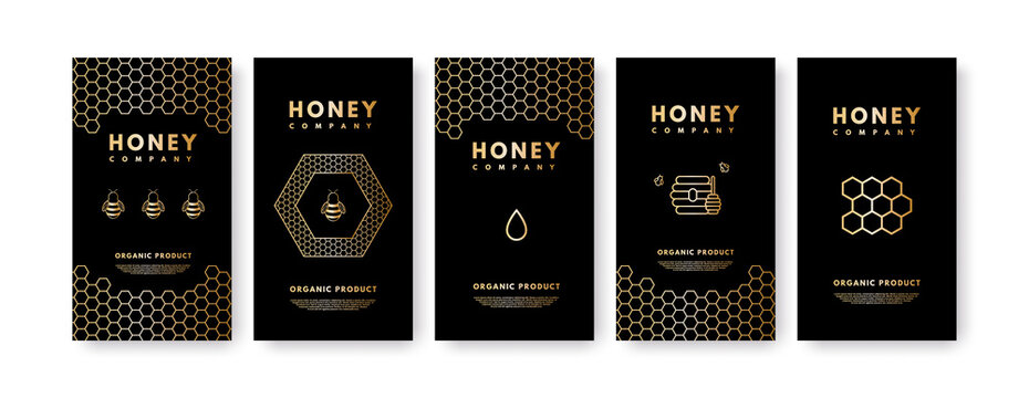 Raster set of social media stories Honey gold gradient honey bee, honeycombs, honey stick, beehive. Design templates, backgrounds, banners, blanks, posters, advertising. On black background.