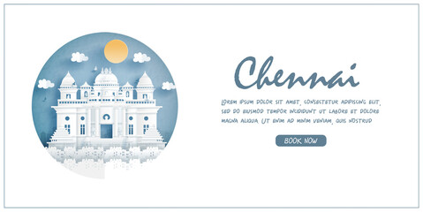 Fototapete - Chennai, India. World famous landmark with white frame and label. Travel postcard and poster, brochure, advertising Vector illustration.