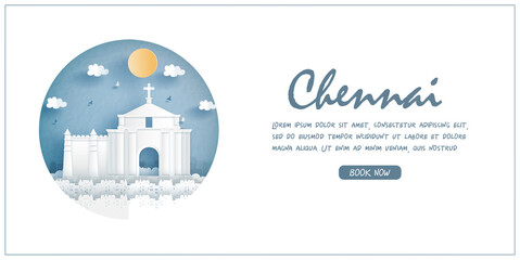 Fototapete - St. Thomas Mount Church, Chennai, India. World famous landmark with white frame and label. Travel postcard and poster, brochure, advertising Vector illustration.