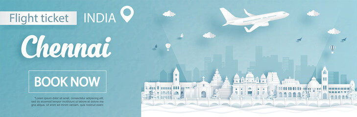 Fototapete - Flight and ticket advertising template with travel to Chennai, India concept and famous landmarks in paper cut style vector illustration