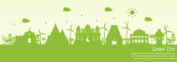 Fototapete - Green city of Chennai, India. Environment and ecology concept in paper cut style. Vector illustration.