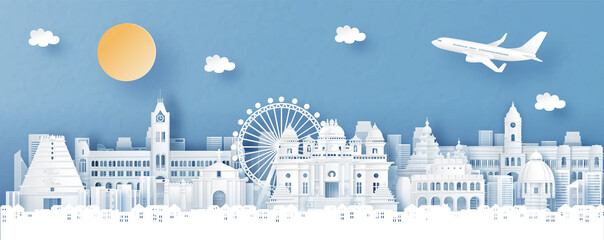 Fototapete - Panorama view of Chennai, India with temple and city skyline with world famous landmarks in paper cut style vector illustration
