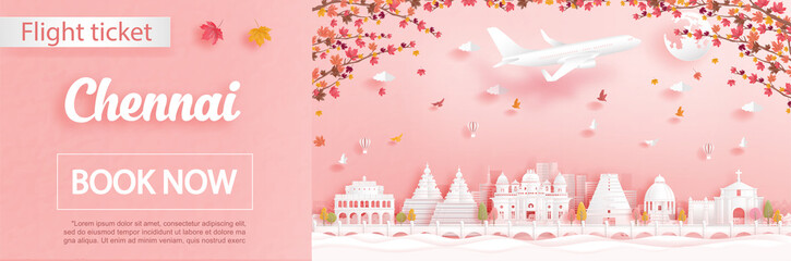 Fototapete - Flight and ticket advertising template with travel to Chennai, India in autumn season deal with falling maple leaves and famous landmarks in paper cut style vector illustration