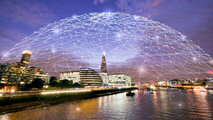 Abstract technology background in London for global business concept