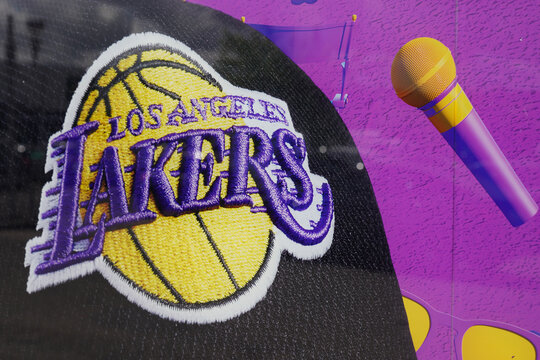 Los Angeles Lakers sign and logo of professional basketball club in american league