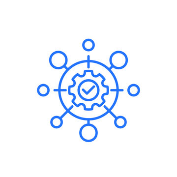 automation industry line icon on white