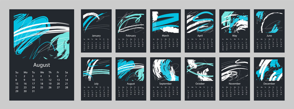 2021 Calendar on a dark background design set of 12 months. 2021 Week starts on Sunday.  Vertical Template A4 or A3 format. Business planner. Stationery design.