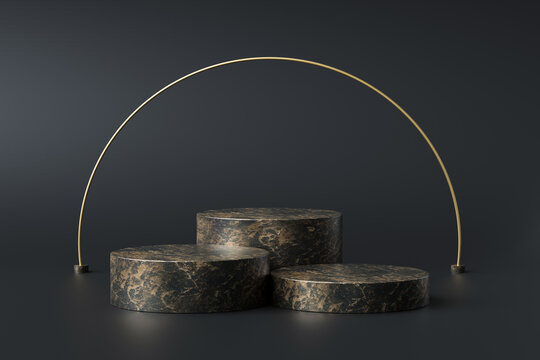 Black marble product display on luxury background with geometric backdrops studio. Empty pedestal or podium. 3D Rendering.
