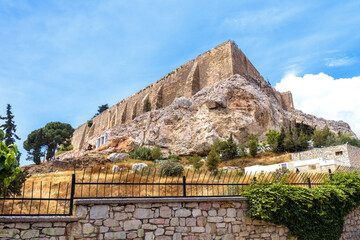 Fototapete - Acropolis of Athens in summer, Greece. Famous Acropolis hill is top tourist attraction of old Athens. Landscape with medieval castle