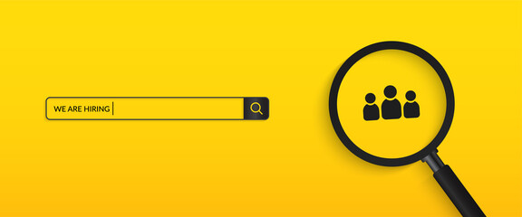 Fototapeta Minimal we are hiring background, job vacancy concept obraz