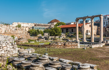Fototapete - Library of Hadrian in Athens, Greece. It is famous tourist attraction of Athens. Scenic view of Hadrian building, classical Greek ruins