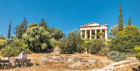 Fototapete - Landscape of Ancient Agora with old Temple of Hephaestus, Athens, Greece. This place is famous tourist attraction in Athens.