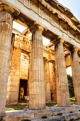Wall Mural - Temple of Hephaestus in Ancient Agora on sunny day, Athens, Greece. It is famous landmarks of Athens.