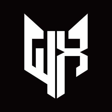 WX Logo monogram with fox head shape design template