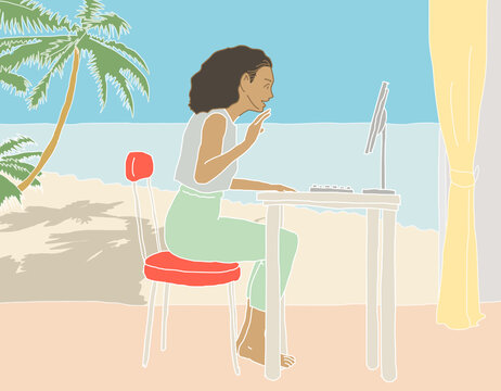 work from home in the beach