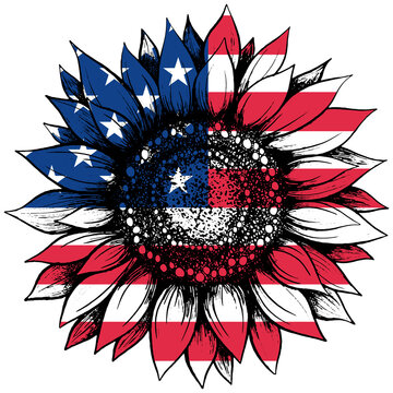 Sunflower and american flag for USA Independence day celebration