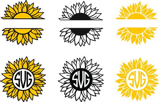 Sunflower monograms bundle