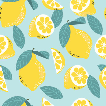 Seamless vector pattern with lemons