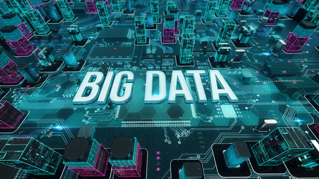 Big Data with digital technology concept 3D rendering