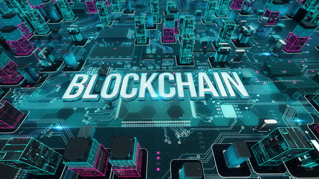 Blockchain with digital technology concept 3D rendering