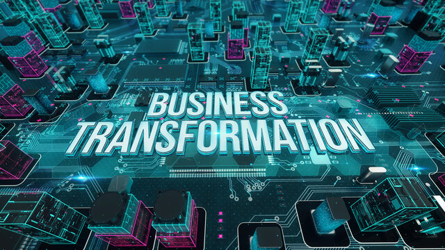 Business Transformation with digital technology concept 3D rendering