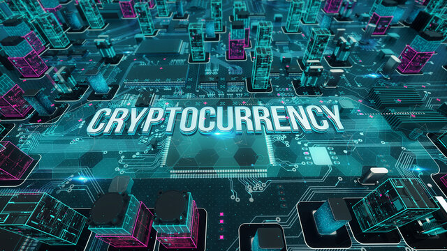 Cryptocurrency with digital technology concept 3D rendering