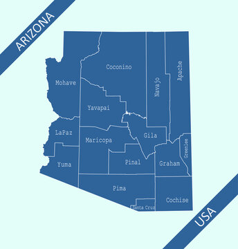 Counties map of Arizona labeled