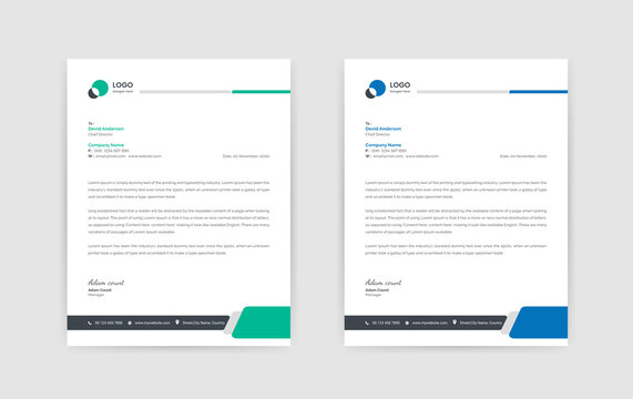 Abstract Corporate Business Style Letterhead Design Vector Template For Your Project. Simple And Clean Print Ready Design,Elegant Flat Design Vector Illustration.