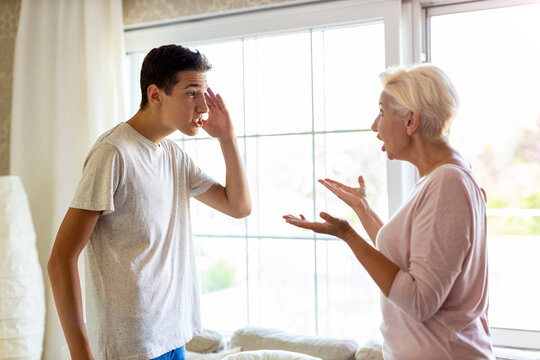 Mother and her son arguing at home