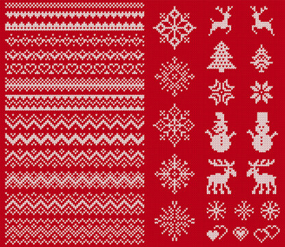 Knit sweater elements. Vector. Christmas seamless borders. Fairisle ornaments. Scandinavian pattern with snowflake, reindeer, tree, snowman. Red white texture. Knitted print. Xmas, winter illustration