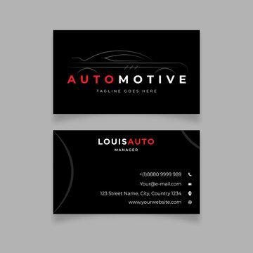 Modern Black car sport design business card template