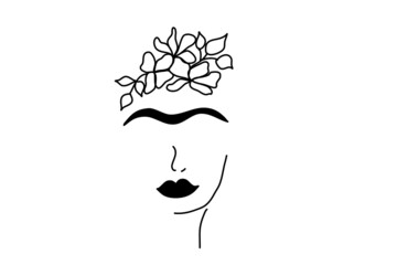 inspiration Frida Kahlo, Mexican woman, hairstyle concept, vector isolated on white background