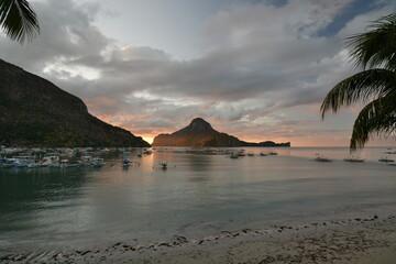 Sunset in El Nido bay. Palawan. Philippines