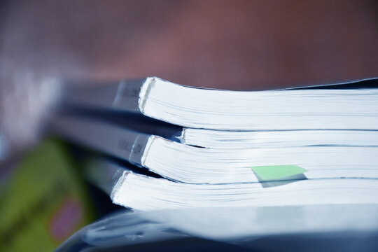 Research of the scientific journals. Documents with a bookmark on the shelf