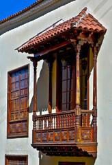 spain, canary islands, tenerife : la orotava, historic area, balcony